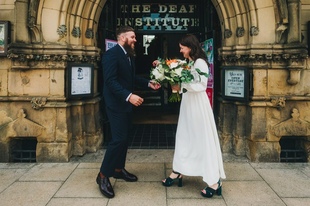 First Look Victoria Warehouse Wedding Manchester Kate McCarthy Photography