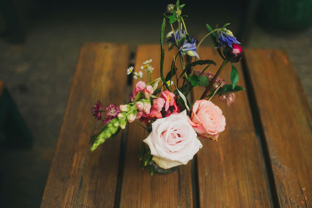 Bottle Flowers Foliage Greenery Rose Thistle Peony Victoria Warehouse Wedding Manchester Kate McCarthy Photography
