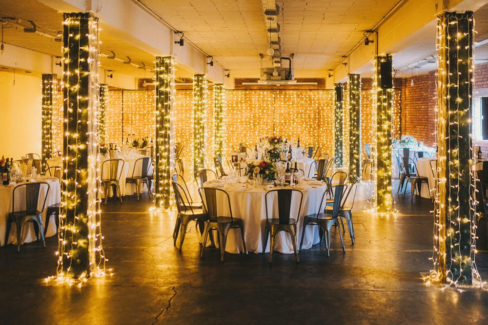 Fairy Lights Decor Metal Chairs Industrial Victoria Warehouse Wedding Manchester Kate McCarthy Photography