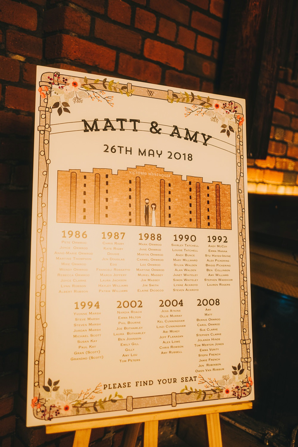 Seating Plan Table Chart Stationery Design Victoria Warehouse Wedding Manchester Kate McCarthy Photography