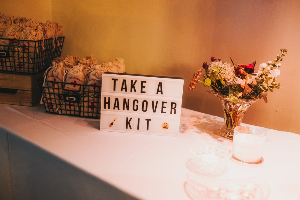 Hangover Kit Station Bag Victoria Warehouse Wedding Manchester Kate McCarthy Photography