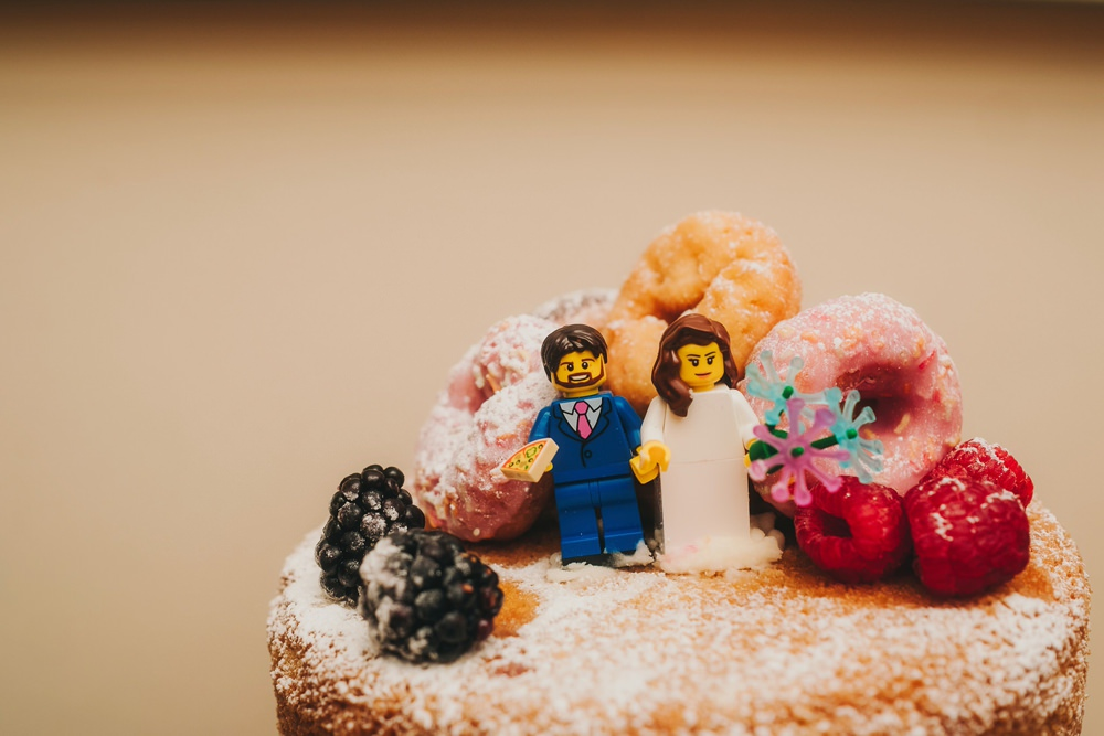Cake Naked Sponge Donuts Lego Toppers Victoria Warehouse Wedding Manchester Kate McCarthy Photography