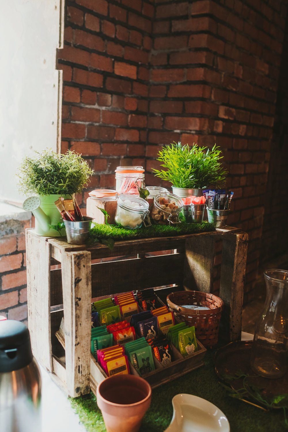 Tea Coffee Station Bar Crates Wooden Victoria Warehouse Wedding Manchester Kate McCarthy Photography