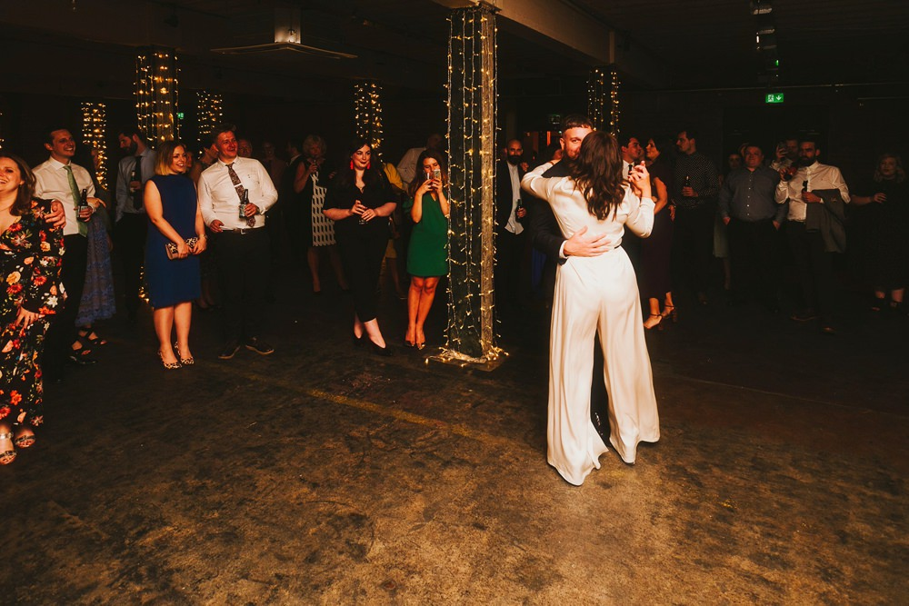 Jumpsuit Bride Bridal Sleeves Long Victoria Warehouse Wedding Manchester Kate McCarthy Photography