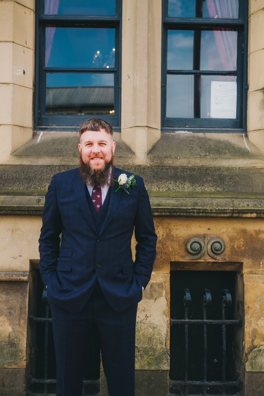 Groom Suit Navy Blue Check Bee Tie Burgundy Victoria Warehouse Wedding Manchester Kate McCarthy Photography