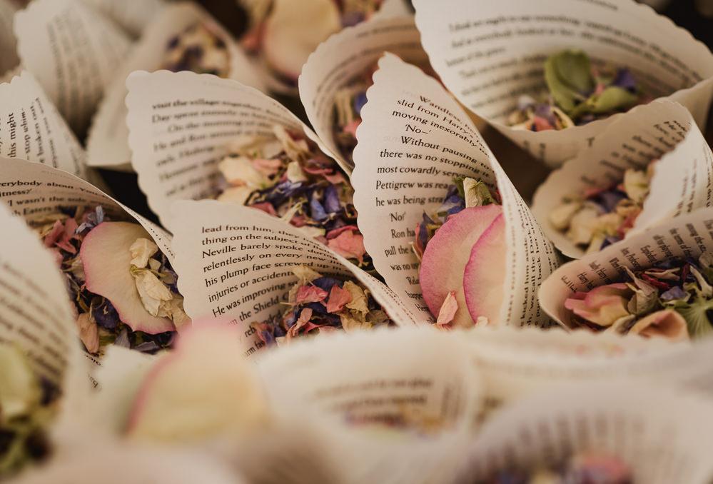 Confetti Cone Page Book Petals Wilkswood Farm Wedding Robin Goodlad Photography