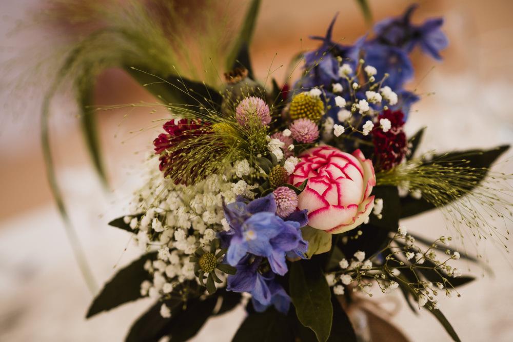 Table Centre Gypsophila Peony Jam Jars Wilkswood Farm Wedding Robin Goodlad Photography