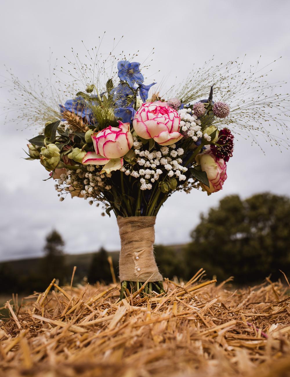 Bouquet Peony Gypsophila Bride Bridal Wilkswood Farm Wedding Robin Goodlad Photography