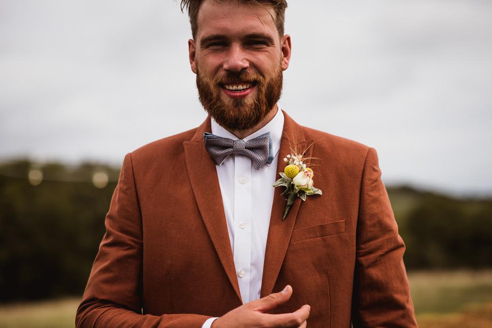 Tan Suit Bow Tie Groom Wilkswood Farm Wedding Robin Goodlad Photography