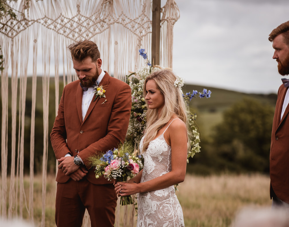 Bride Bridal Grace Loves Lace Rosa Sleeveless Dress Gown Boho Tan Suit Bow Tie Groom Bouquet Wilkswood Farm Wedding Robin Goodlad Photography