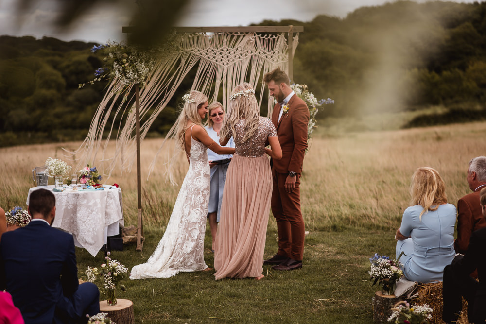 Bride Bridal Grace Loves Lace Rosa Sleeveless Dress Gown Boho Tan Suit Bow Tie Groom Pink Bridesmaid Wilkswood Farm Wedding Robin Goodlad Photography
