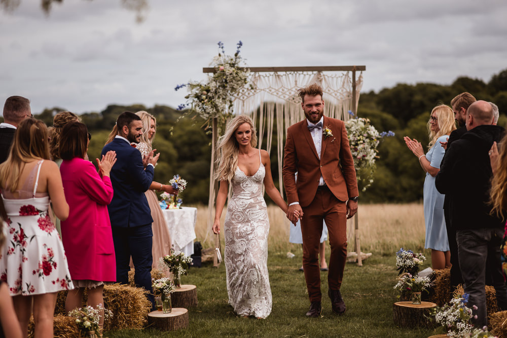 Bride Bridal Grace Loves Lace Rosa Sleeveless Dress Gown Boho Tan Suit Bow Tie Groom Wilkswood Farm Wedding Robin Goodlad Photography