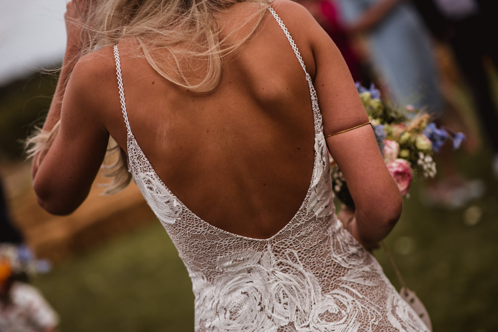Bride Bridal Grace Loves Lace Rosa Sleeveless Dress Gown Boho Low Back Strappy Wilkswood Farm Wedding Robin Goodlad Photography