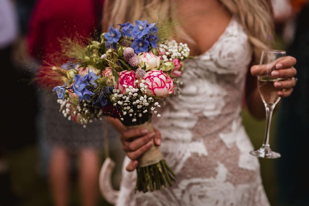 Bride Bridal Peony Gypsophila Bouquet Wilkswood Farm Wedding Robin Goodlad Photography