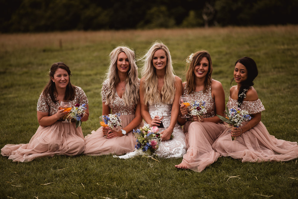 Bride Bridal Grace Loves Lace Rosa Sleeveless Dress Gown Boho Pink Blush Sequin Bridesmaids Wilkswood Farm Wedding Robin Goodlad Photography