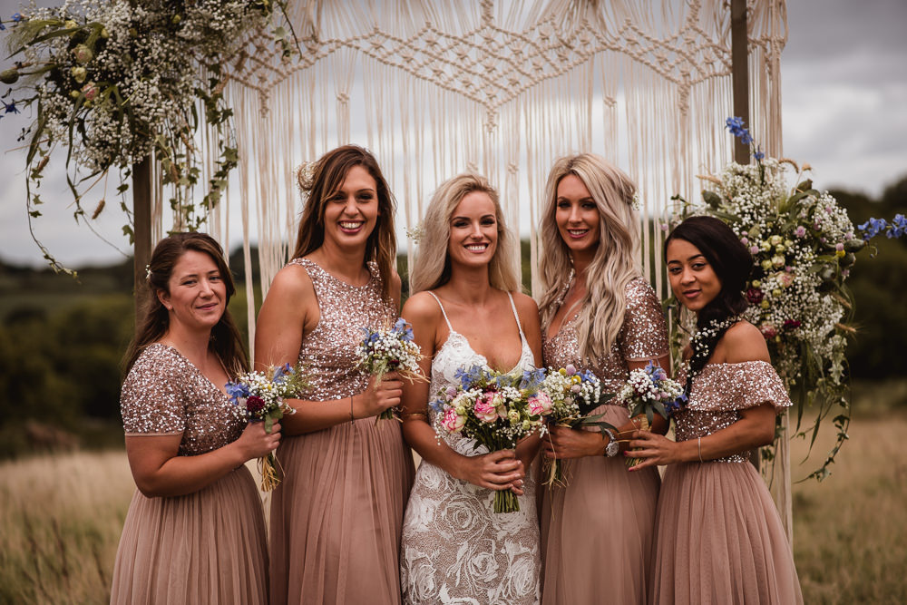 Bride Bridal Grace Loves Lace Rosa Sleeveless Dress Gown Boho Pink Blush Sequin Bridesmaids Macrame Backdrop Wilkswood Farm Wedding Robin Goodlad Photography