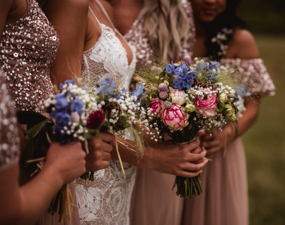 Bride Bridal Bouquet Posy Bridesmaids Wilkswood Farm Wedding Robin Goodlad Photography