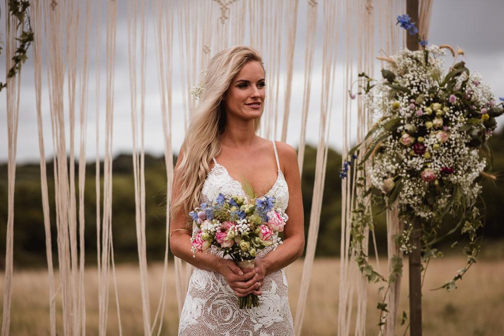 Bride Bridal Grace Loves Lace Rosa Sleeveless Dress Gown Boho Macrame Floral Flowers Gypsophila Ceremony Backdrop Wilkswood Farm Wedding Robin Goodlad Photography