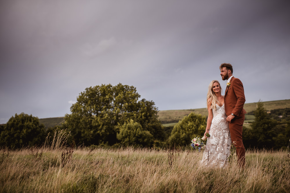 Bride Bridal Grace Loves Lace Rosa Sleeveless Dress Gown Boho Tan Suit Groom Wilkswood Farm Wedding Robin Goodlad Photography