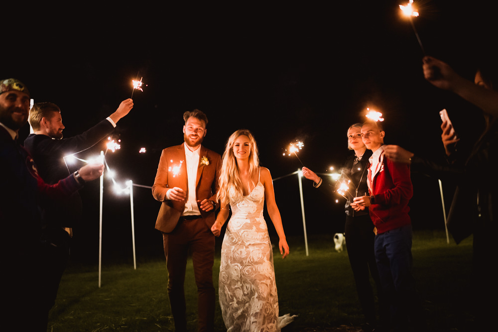Bride Bridal Grace Loves Lace Rosa Sleeveless Dress Gown Boho Tan Suit Groom Sparklers Wilkswood Farm Wedding Robin Goodlad Photography