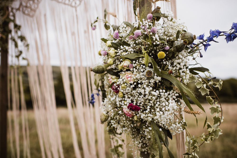 Macrame Ceremony Backdrop Flowers Floral Gypsophila Wilkswood Farm Wedding Robin Goodlad Photography