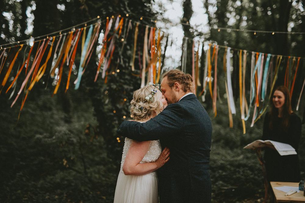 Hanging Ribbon Garland Decor Outdoor Woodland Ceremony Applewood Wedding Flawless Photography