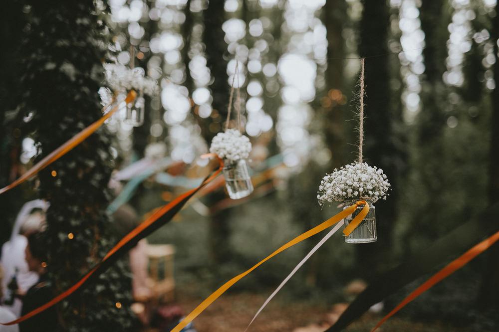 Hanging Jar Flowers Ribbons Trees Woodland Aisle Ceremony Applewood Wedding Flawless Photography