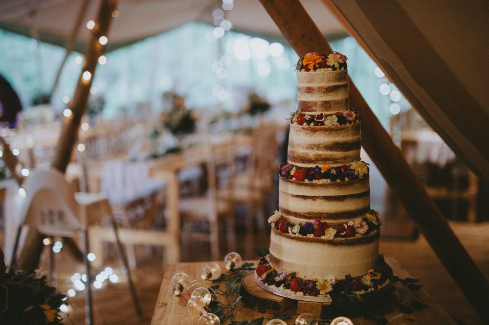 Semi Naked Cake Berries Buttercream Applewood Wedding Flawless Photography