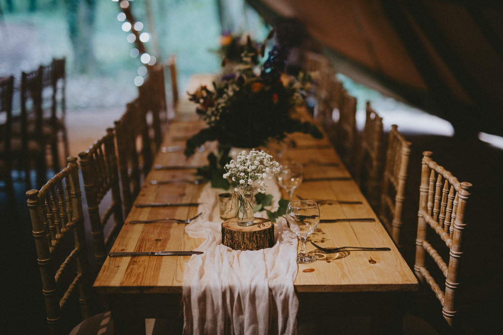 Long Rustic Wooden Tables Flowers Decor Log Slice Runner Applewood Wedding Flawless Photography