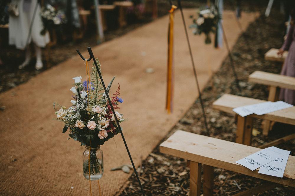 Hanging Jar Flowers Ribbons Trees Woodland Aisle Ceremony Hooks Applewood Wedding Flawless Photography