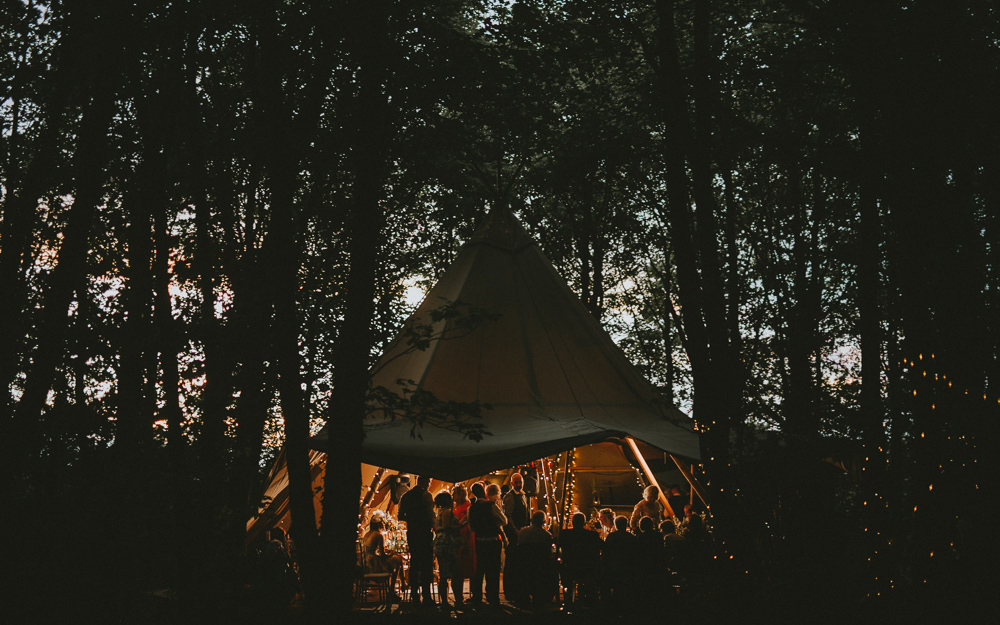 Tipi Woodland Outdoor Fairy Lights Applewood Wedding Flawless Photography