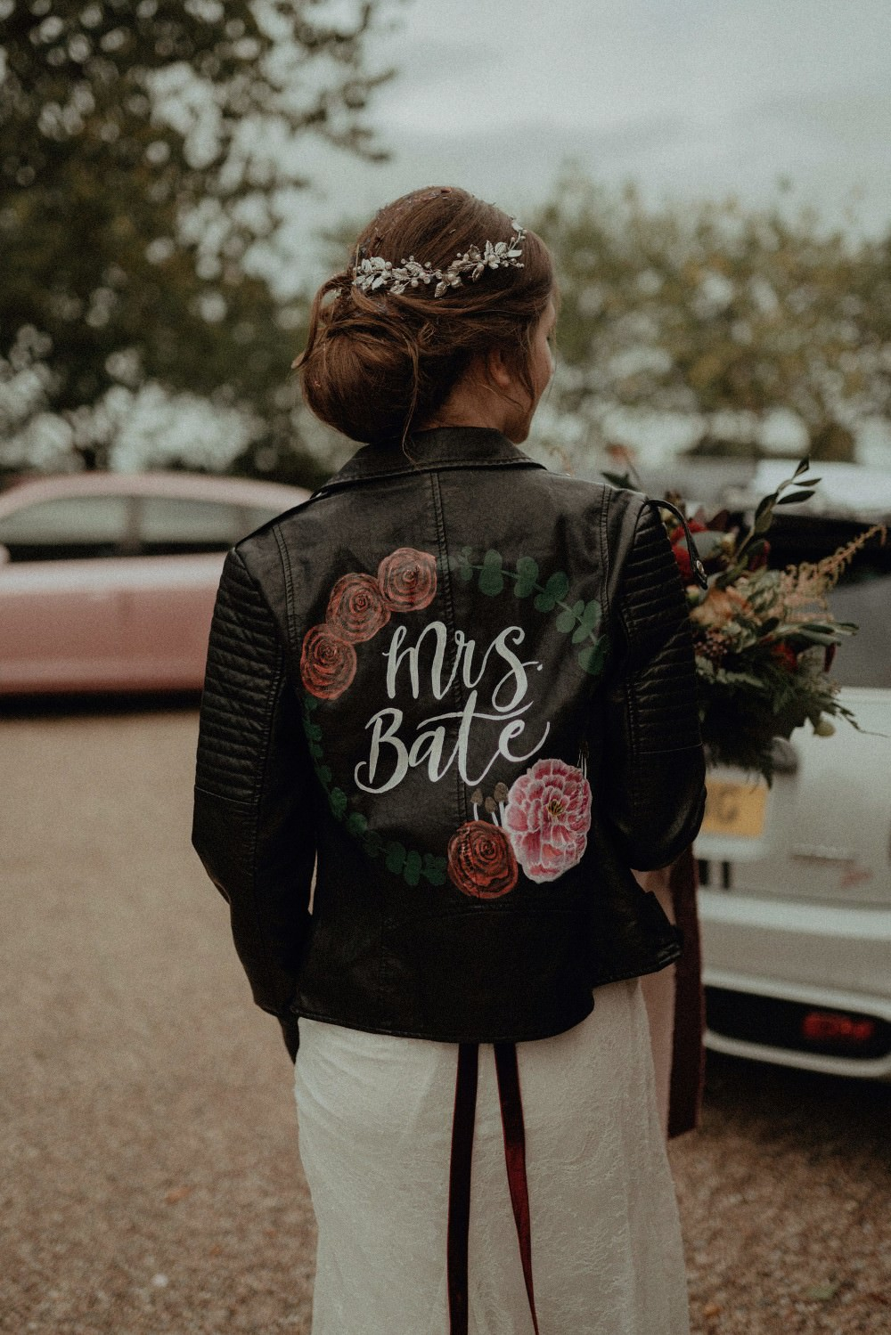 Bride Bridal Leather Jacket Painted Lettering Floral Autumn Dark Red Wedding Belle Art Photography