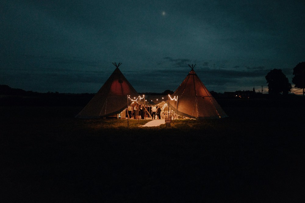 Tipi Fairy Lights Lighting Autumn Dark Red Wedding Belle Art Photography