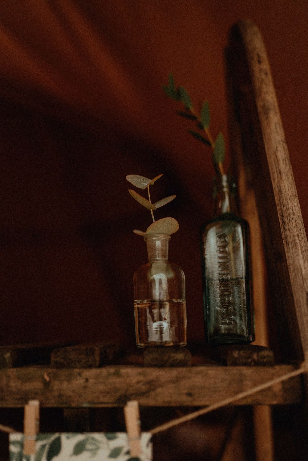 Bottles Greenery Foliage Eucalyptus Autumn Dark Red Wedding Belle Art Photography