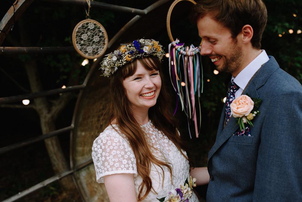 Bride Bridal Flower Crown Dried Flowers Boho Festival Wedding Matt Bowen Photography