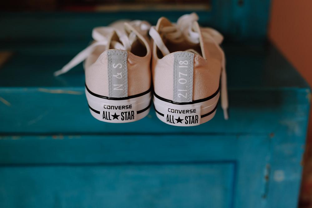 Converse Pink Bride Bridal Shoes Boho Festival Wedding Matt Bowen Photography