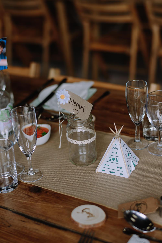 Long Tables Rustic Barn Hessian Burlap Runner Jam Jar Tipi Boho Festival Wedding Matt Bowen Photography
