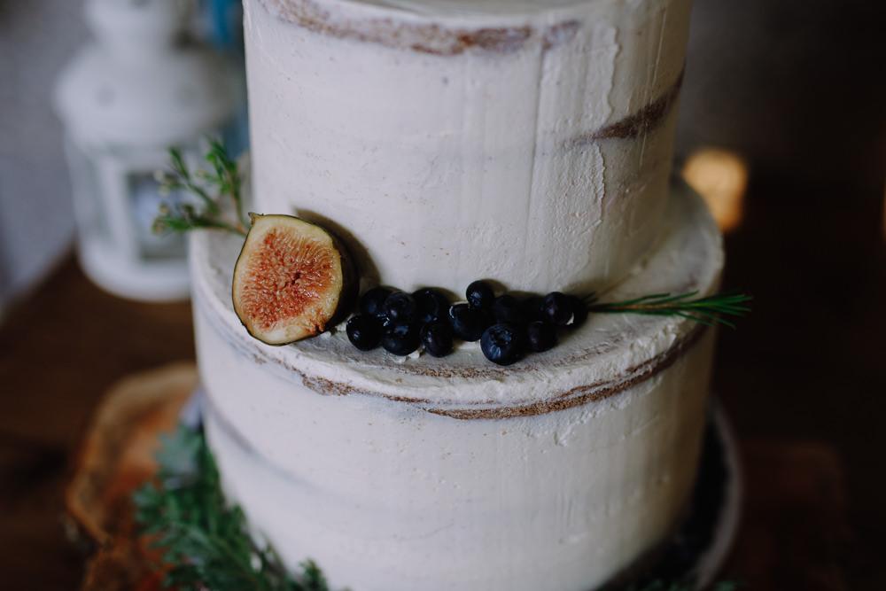 Semi Naked Cake Greenery Foliage Fruit Boho Festival Wedding Matt Bowen Photography