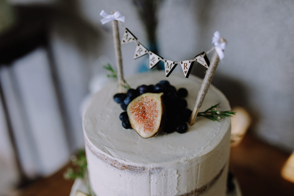 Semi Naked Cake Greenery Foliage Fruit Bunting Topper Boho Festival Wedding Matt Bowen Photography