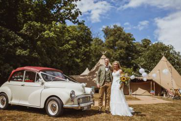 Morris Minor Car Transport Vintage Tipi Cannon Hall Wedding Neil Jackson Photographic