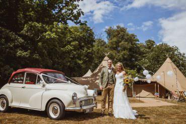 Morris Minor Car Transport Vintage Tipi Cannon Hall Wedding Neil Jackson Photographic