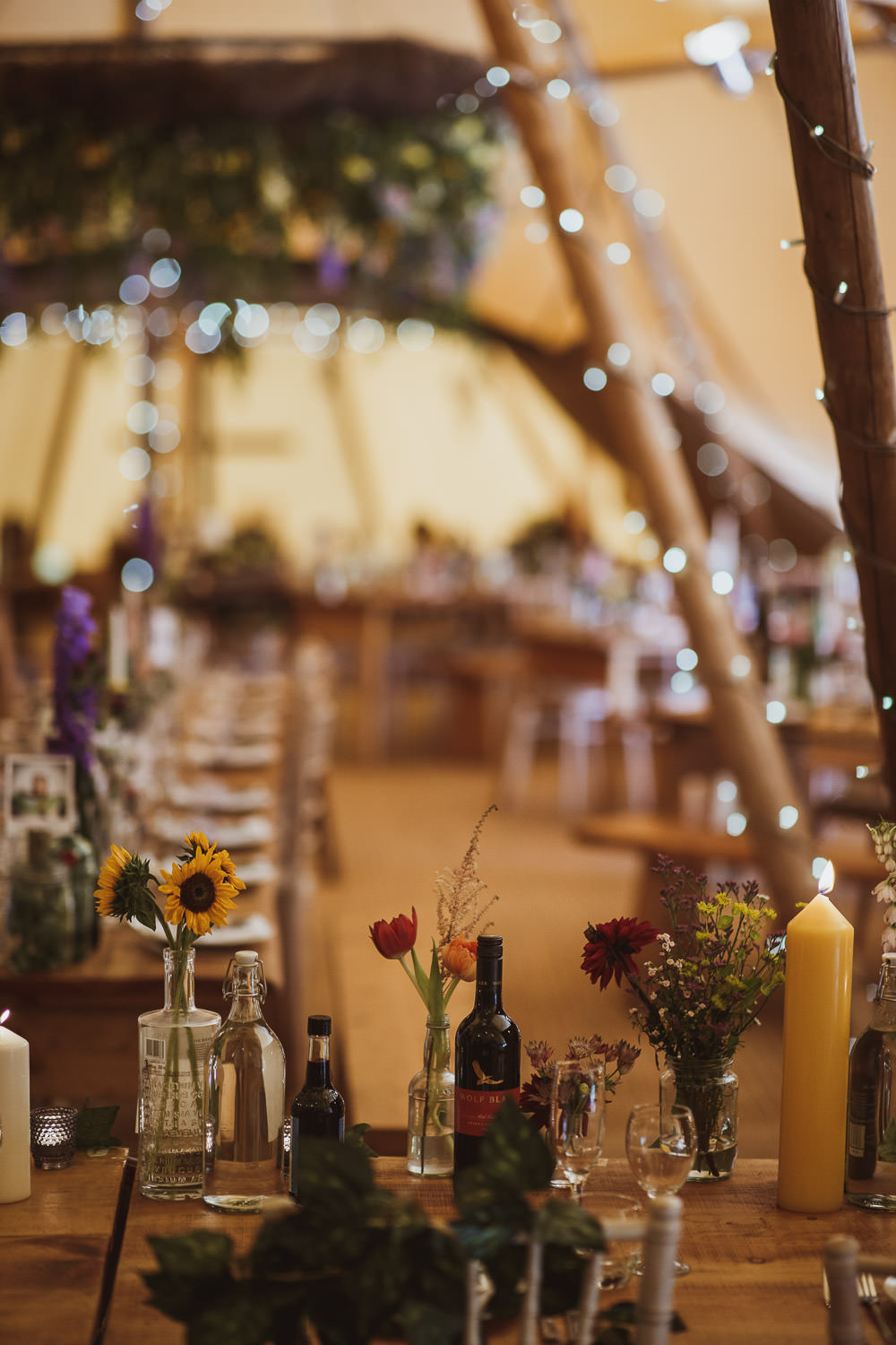 Tipi Fairy Lights Flowers Decor Cannon Hall Wedding Neil Jackson Photographic