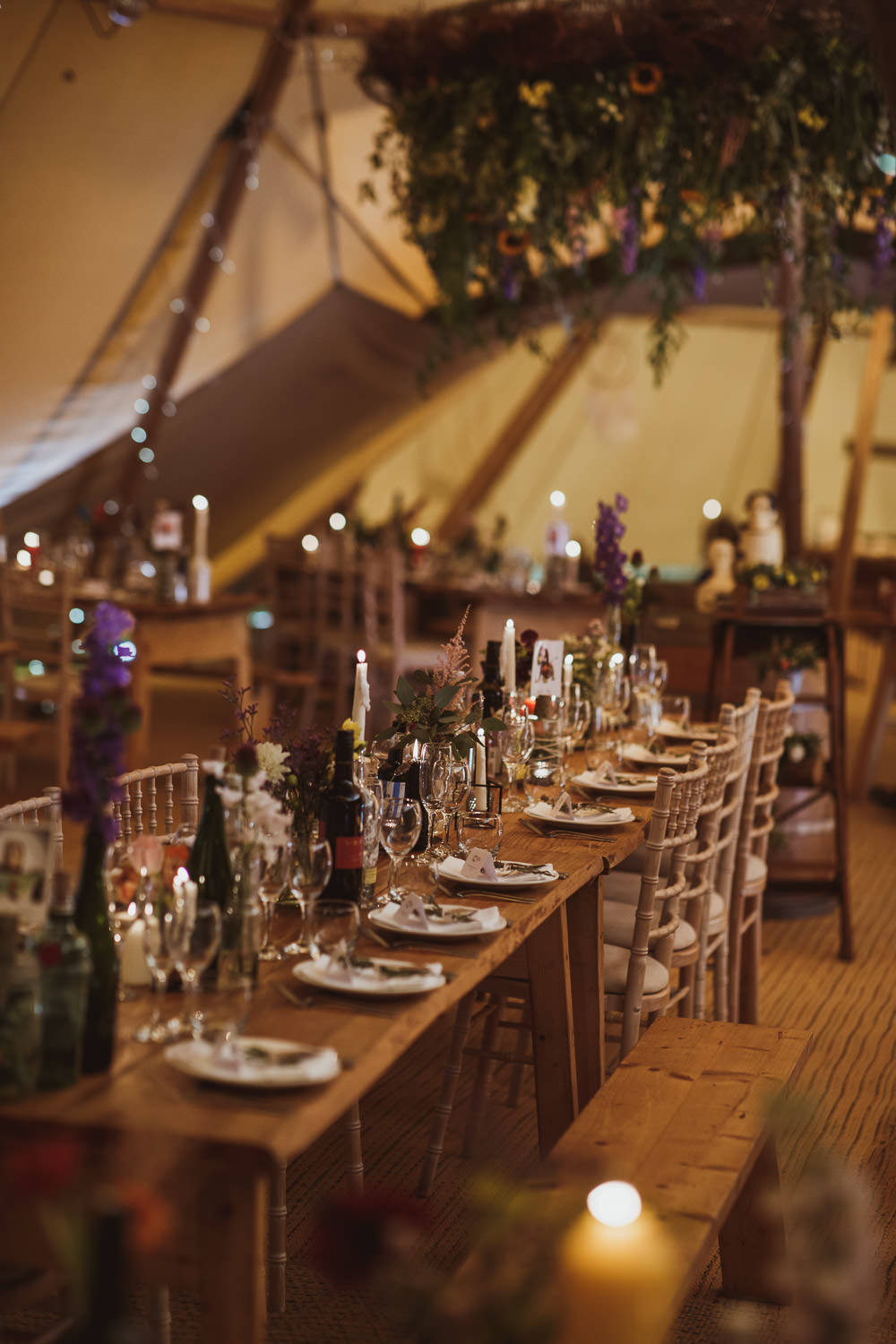 Tipi Fairy Lights Flowers Decor Long Tables Cannon Hall Wedding Neil Jackson Photographic