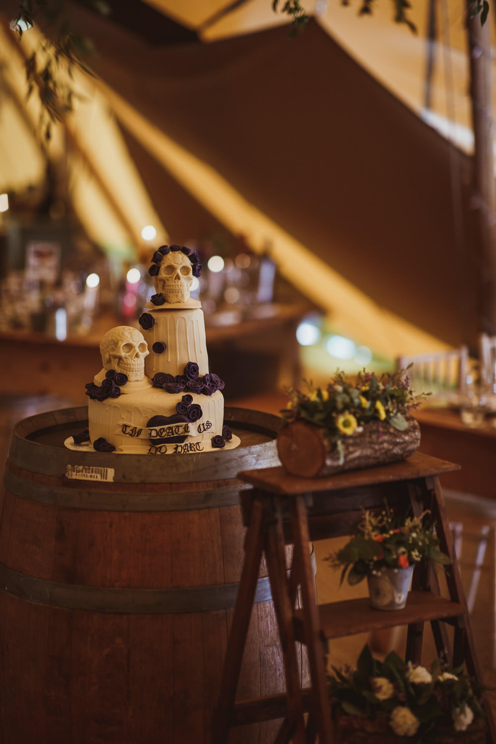 Til Death Us Do Part Chocolate Drip Cake Skulls Cannon Hall Wedding Neil Jackson Photographic