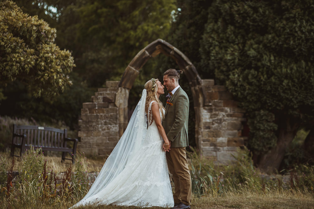 Dress Gown Bride Bridal Lace Straps Train Veil Pronovias Cannon Hall Wedding Neil Jackson Photographic