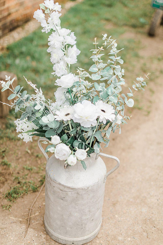 Milk Churn Flowers White Gerbera Eucalyptus Chiltern Open Air Museum Wedding Terri & Lori Fine Art Photography