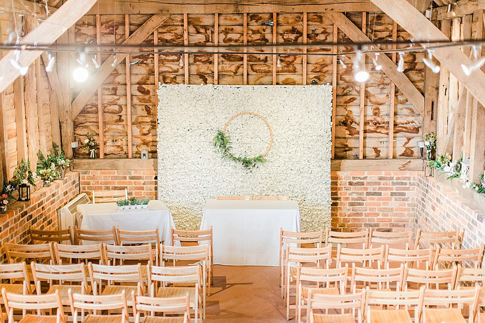 Barn Ceremony Room Decor Flower Wall Backdrop Hoop Greenery Chiltern Open Air Museum Wedding Terri & Lori Fine Art Photography
