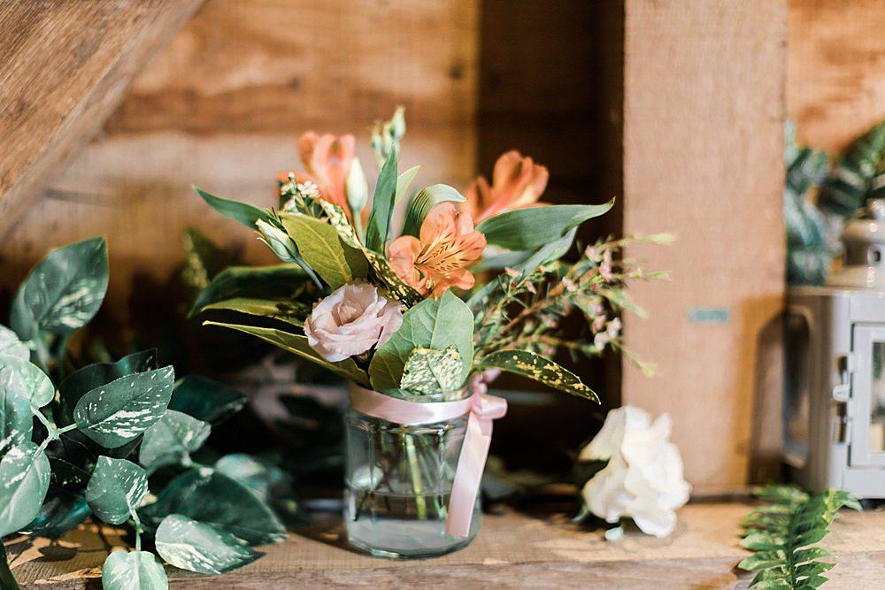 Jar Flowers Decor Chiltern Open Air Museum Wedding Terri & Lori Fine Art Photography