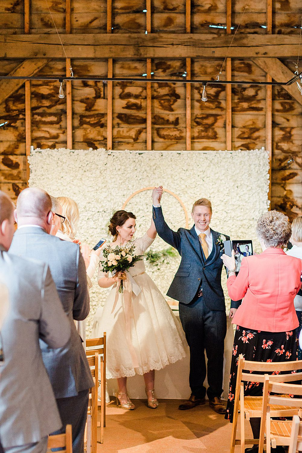 Barn Ceremony Room Decor Flower Wall Backdrop Hoop Greenery Chiltern Open Air Museum Wedding Terri & Lori Fine Art Photography