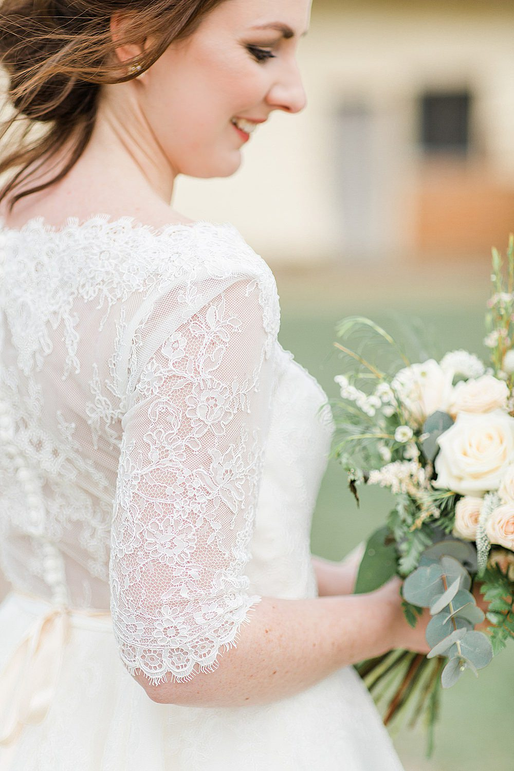 Dress Gown Bride Bridal Lace Tea Length Short Sleeves Button Back Chiltern Open Air Museum Wedding Terri & Lori Fine Art Photography